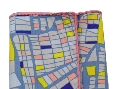 City Grid Cotton Pocket Square - Fine And Dandy