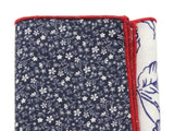 Navy Floral Panelled Pocket Square - Fine And Dandy