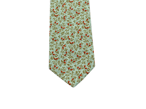 Pistachio Green Floral Cotton Tie - Fine And Dandy
