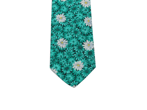Turquoise Daises Cotton Tie - Fine And Dandy