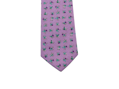 Lavender Floral Cotton Tie - Fine And Dandy