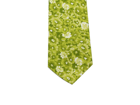 Pear Green Floral Cotton Tie - Fine And Dandy