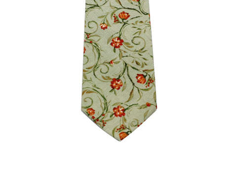 Olive Green Floral Cotton Tie - Fine And Dandy
