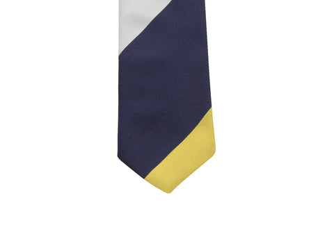Blue & Gold Bold Striped Silk Tie - Fine And Dandy