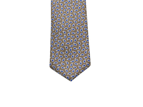 Tan & Blue Mini Paisley Silk Tie - Fine And Dandy