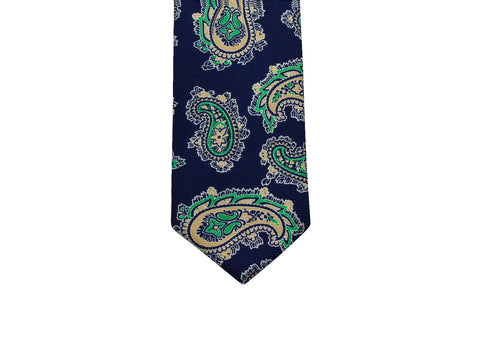 Navy & Green Paisley Silk Tie - Fine And Dandy