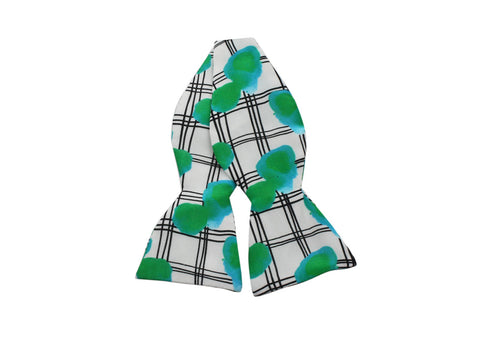 Green Abstract Grid Silk Bow Tie - Fine And Dandy