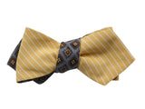 Florette & Golden Striped Reversible Bow Tie - Fine And Dandy