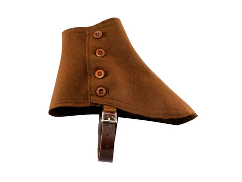 Brown Wool Felt Spats - Fine and Dandy