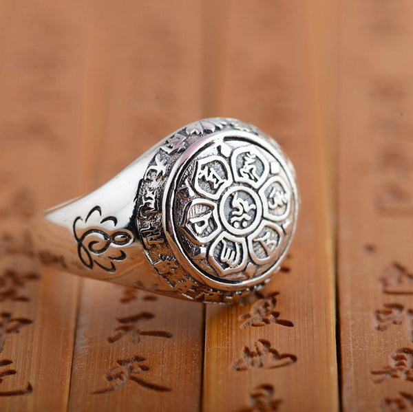 Buddha Lotus Mantra Ring (925 sterling silver) FREE SHIPPING