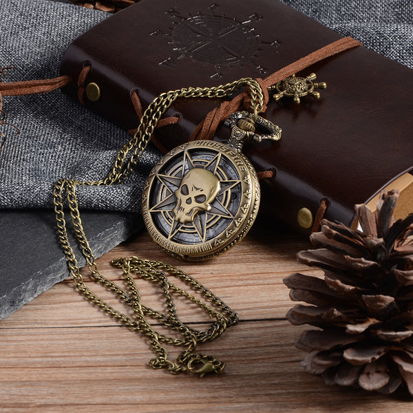 LIMITED QUARTZ POCKET WATCH PIRATE SKULL [FREE SHIPPING]