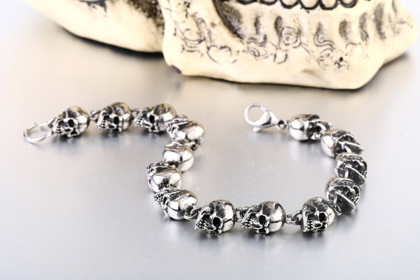 EXCLUSIVE 316L Stainless Steel Bracelet BADASS SKULL