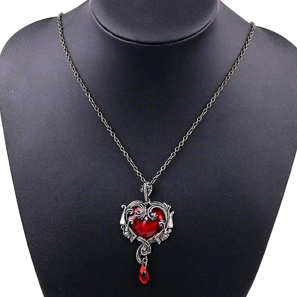 LIMITED ORCALLO :Twin Skull Heart Necklace [Free Shipping]