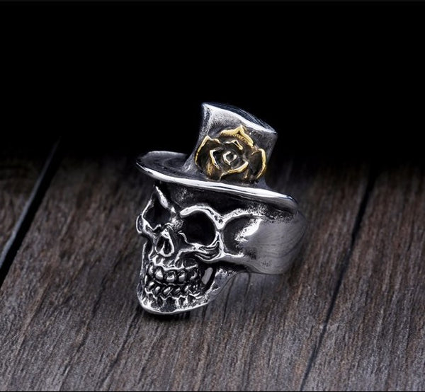 High Quality Stainless Steel Hat Skull Ring