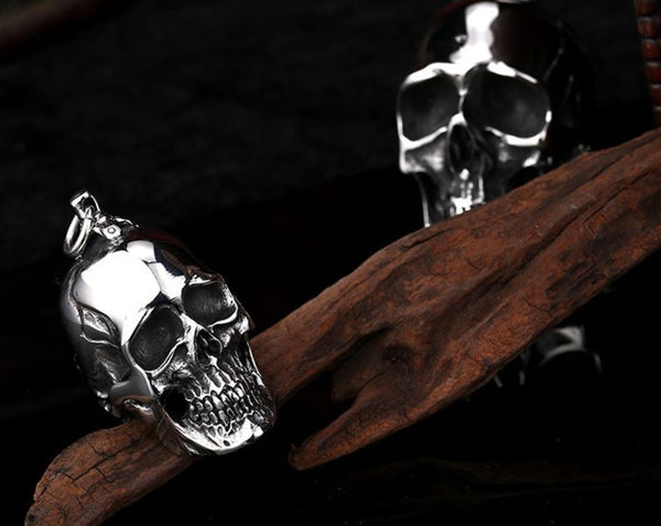 HIGH QUALITY STAINLESS STEEL HEAVY SKULL PENDANT NECKLACE