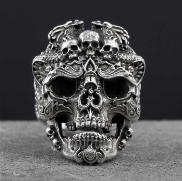 LIMITED Handmade Devil Dragon Silver Skull Ring  [FREE SHIPPING]