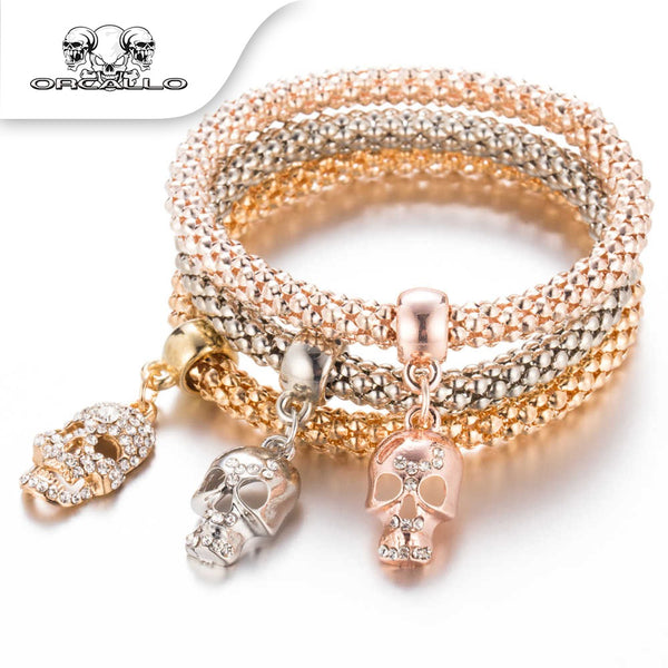CRYSTAL SKULL BRACELET & BANGLE