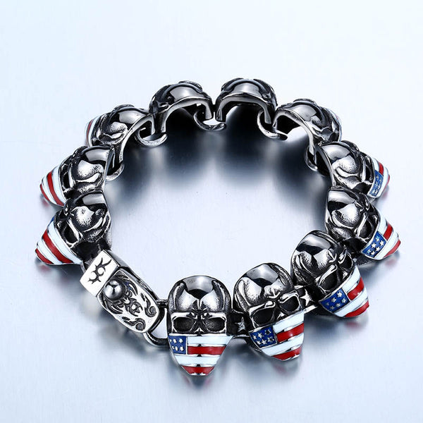 2018 High Quality Punk American Flag Skull Bracelet