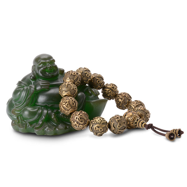 Tibetan Tengyur Brass Prayer Beads Bracelet