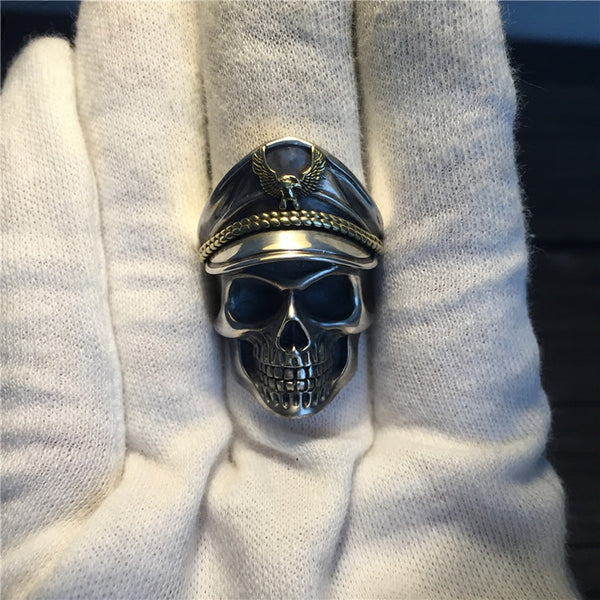LIMITED EXCLUSIVE HANDMADE REAL 925 STERLING SILVER SOLDIER SKULL RING [FREE SHIPPING]