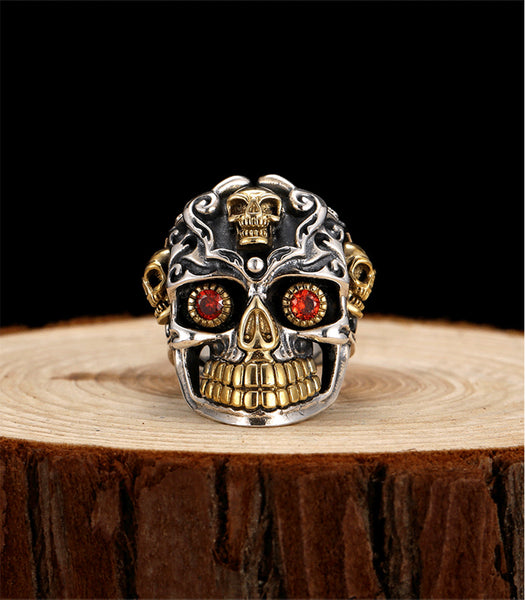 LIMITED RUBY RED STONE MEXICAN SKULL STERLING SILVER RING