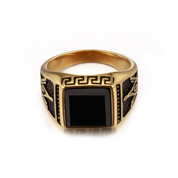Black Stone Gold Signet Ring