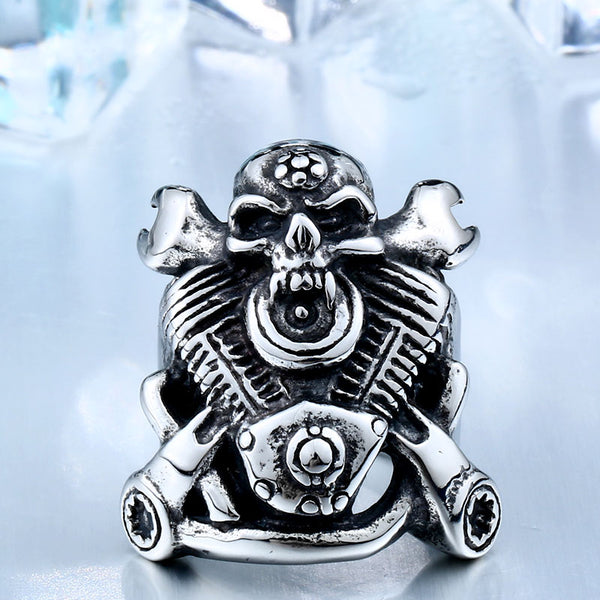 Motorcycle Part Skull Biker Ring