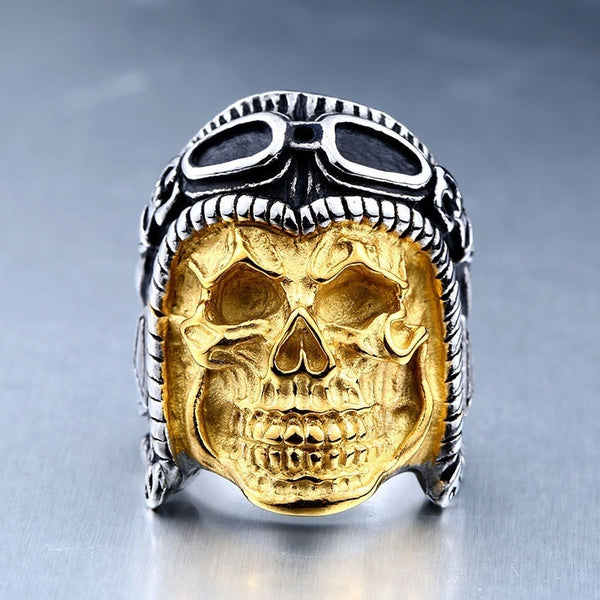 Gold Punk Pilot Skull Ring