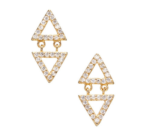 Gold Vermeil Triangular Studs with Dangling Triangle