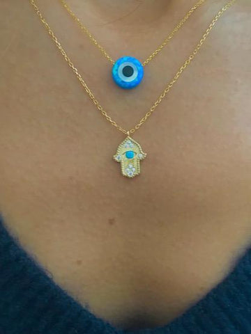 Blue Opal Like Evil Eye Circle Necklace & Gold Vermeil Hamsa Hand with Turquoise Eye Necklace