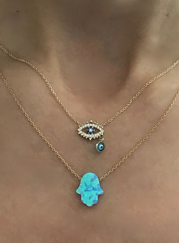 Evil Eye Necklace & Hamsa Hand Opal Like Necklace in Gold Vermeil
