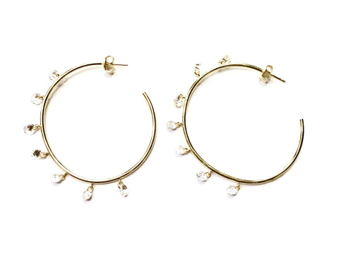 Gold Vermeil Hoop Earrings with Seven Dangling Crystal Charms