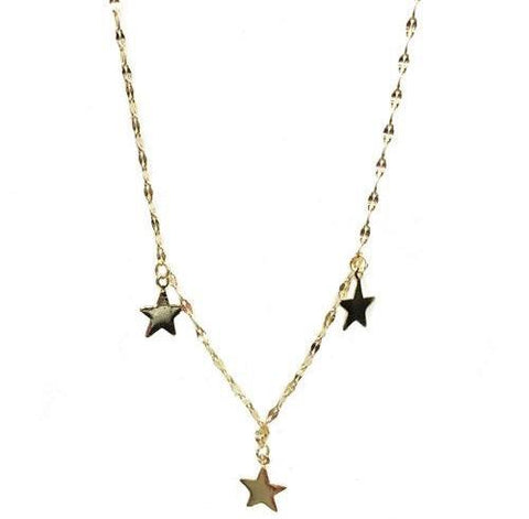 Gold Vermeil Three Dangling Stars Necklace