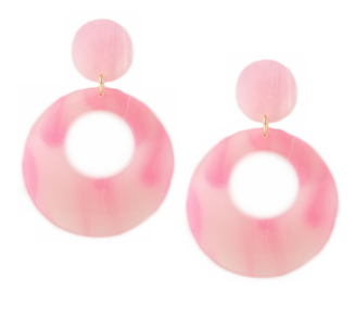 Pink Plastic Oversized Hoop Earrings