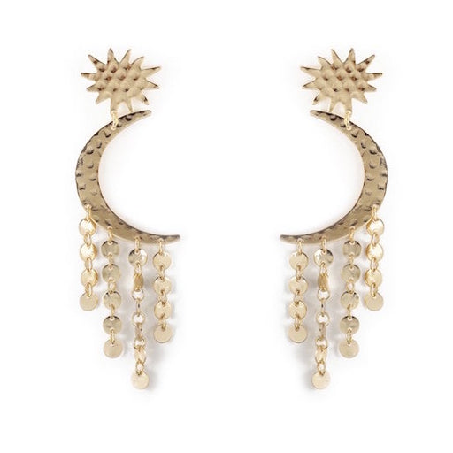 Star and Crescent Moon Gold Plated Statement Earrings