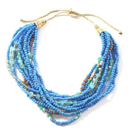 Multi Strand Blue Beaded Bracelet