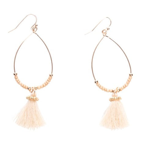 Oval Hoop Single Tassel Drop Earrings