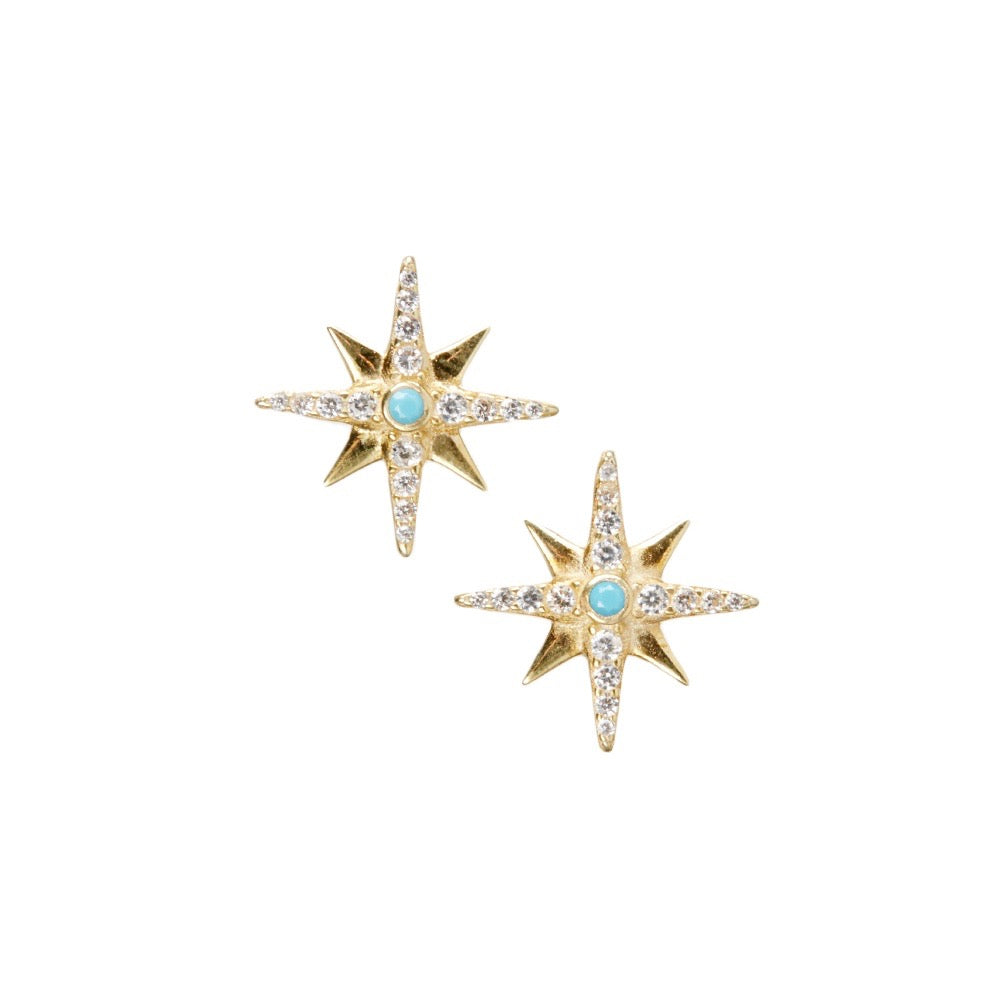 Gold Vermeil Star Studs with Turquoise Bead
