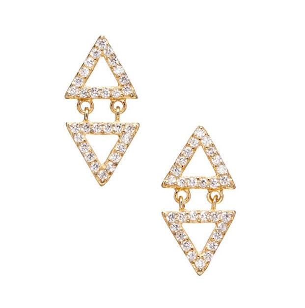 Geometric Gold Vermeil Triangular Studs With Dangling Triangle
