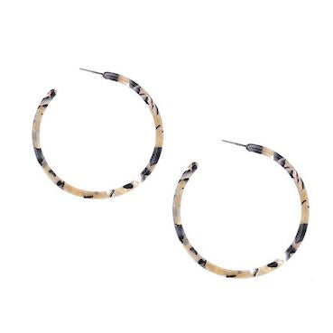 Lightweight Beige Hoop Earrings
