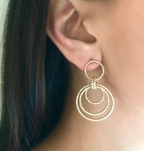 Textured Circle Dangle Earrings