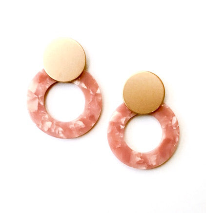 Coral Celluloid Statement Studs