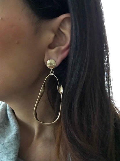 Oversized Sculptural Gold-Plated Metal Earrings