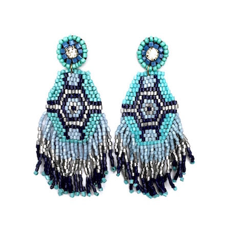 Blue Aztec Beaded Earrings