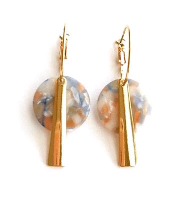Hoop Earrings with Celluloid Disc and Gold-Plated Charm