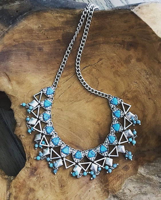 Blue and Silver Plated Statement Necklace