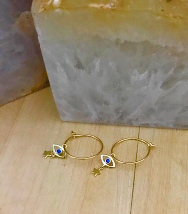 Evil Eye and Star Charm Gold Vermeil Hoop Earrings