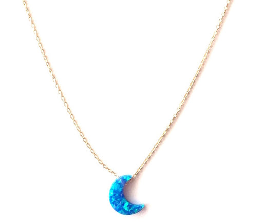 Blue Opal-Like and Gold Vermeil Crescent Moon Necklace