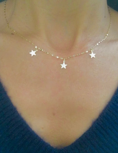Three Dangling Stars Gold Vermeil Necklace