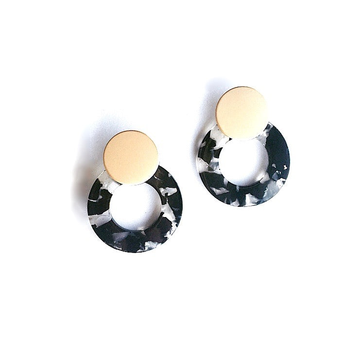 Black Celluloid Statement Studs